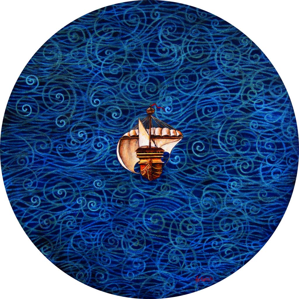 La tempesta (collage e olio su tavola, cm. 80)
